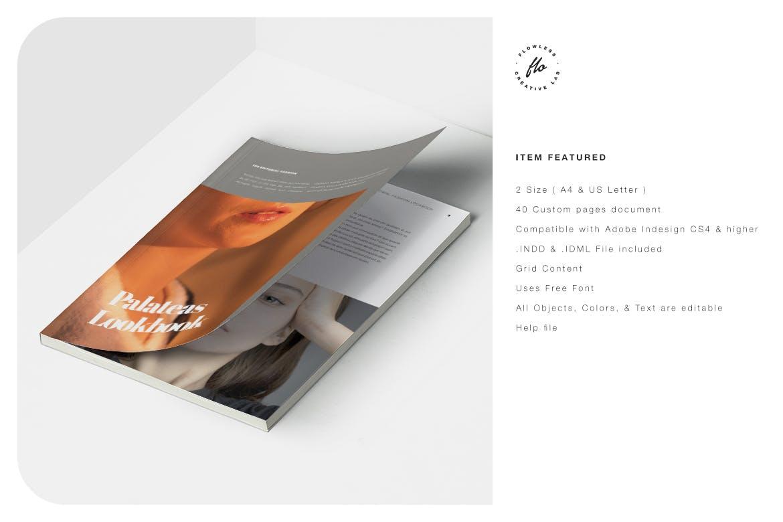 极简女性服装设计作品集排版INDD画册模板 Palateas Editorial Fashion Lookbook插图5
