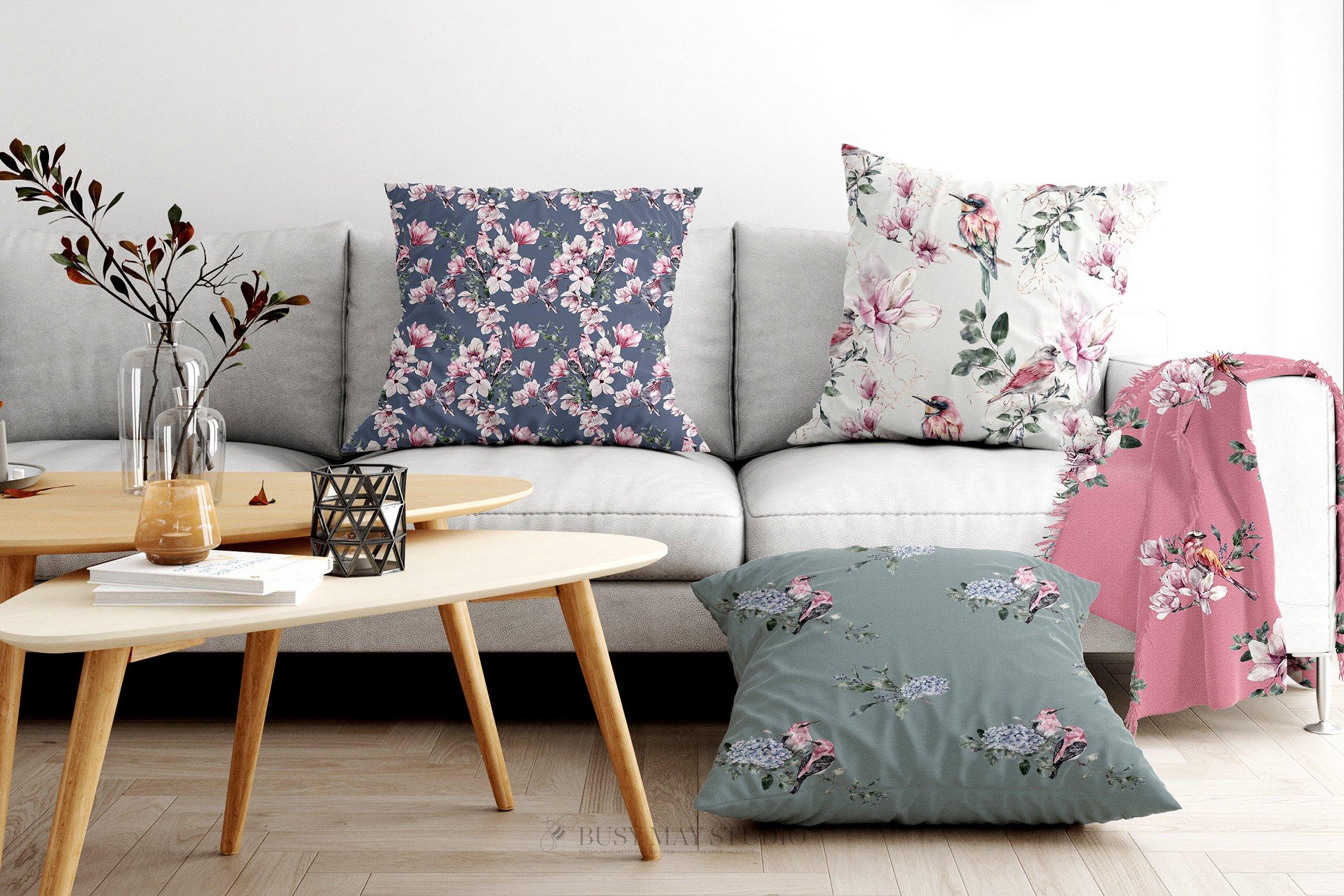 16款春天叶子花卉小鸟手绘水彩画图片设计素材 Spring Watercolor Seamless Patterns插图4