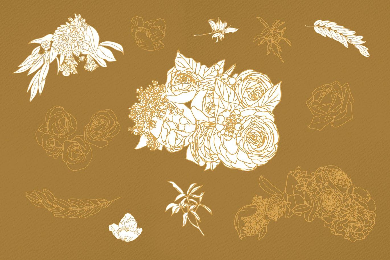 鲜花花卉手绘剪贴画印花图案矢量设计素材 January Flowers插图5