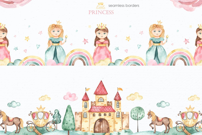 卡通女孩马车城堡彩虹手绘水彩画图片设计素材 Little Princess Watercolor插图5