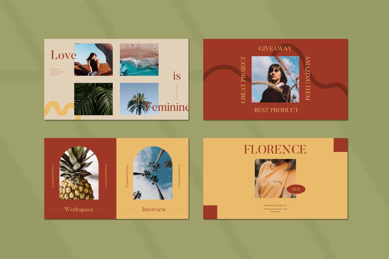 优雅暖色调女士服装摄影作品集设计演示文稿模板素材 FLORENCE Keynote Template插图5