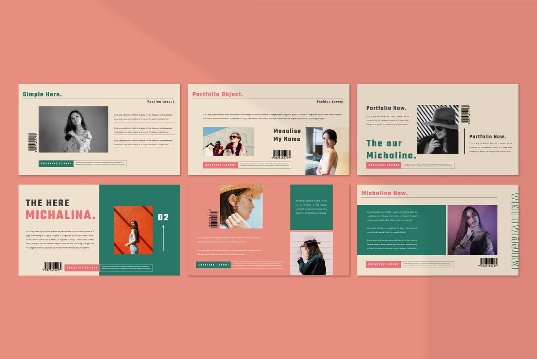 潮流撞色服装作品集演示文稿设计模板素材 MICHALINA Powerpoint Template插图5