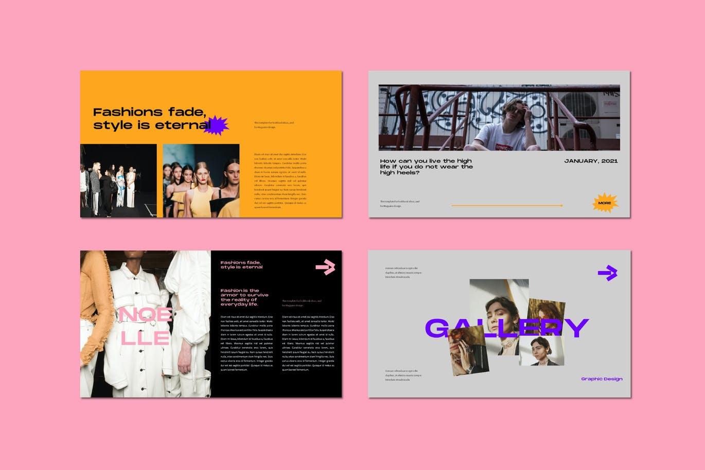潮流炫彩服装作品集演示文稿设计模板 Noelle Powerpoint Template插图5