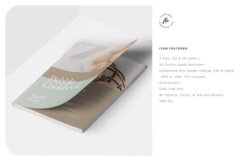 24页食品美食食谱画册排版设计INDD模板素材 Piebble Food Recipe Cookbook插图5