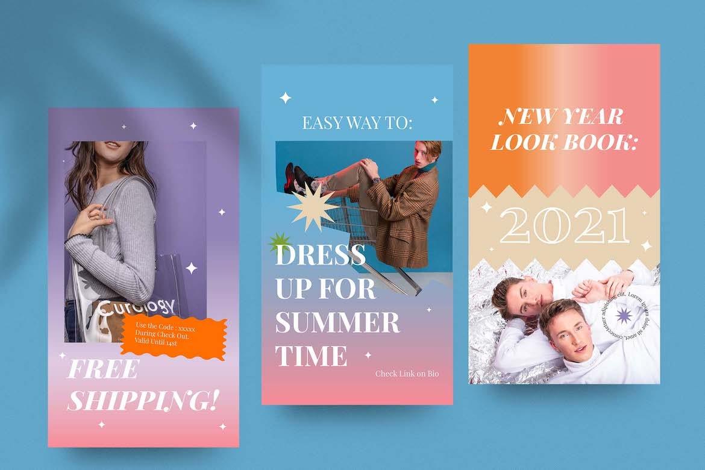 虹彩渐变背景品牌推广新媒体电商海报设计PSD模板合集 Cotton Rainbow Instagram Set插图5