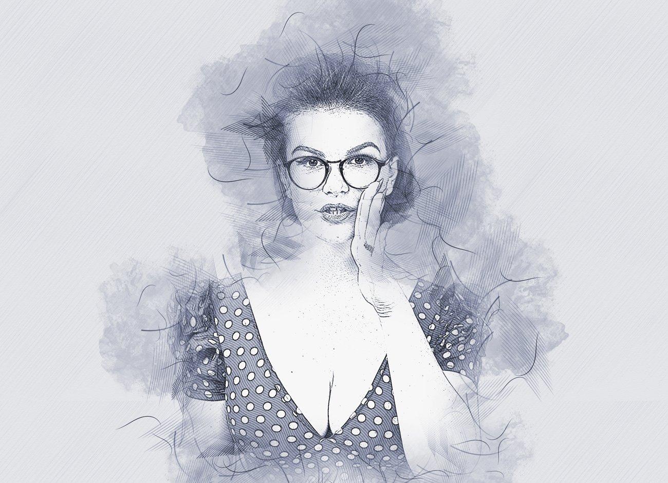 铅笔手绘素描效果照片处理特效PS动作模板 Hand Drawing Sketch Photoshop Action插图7