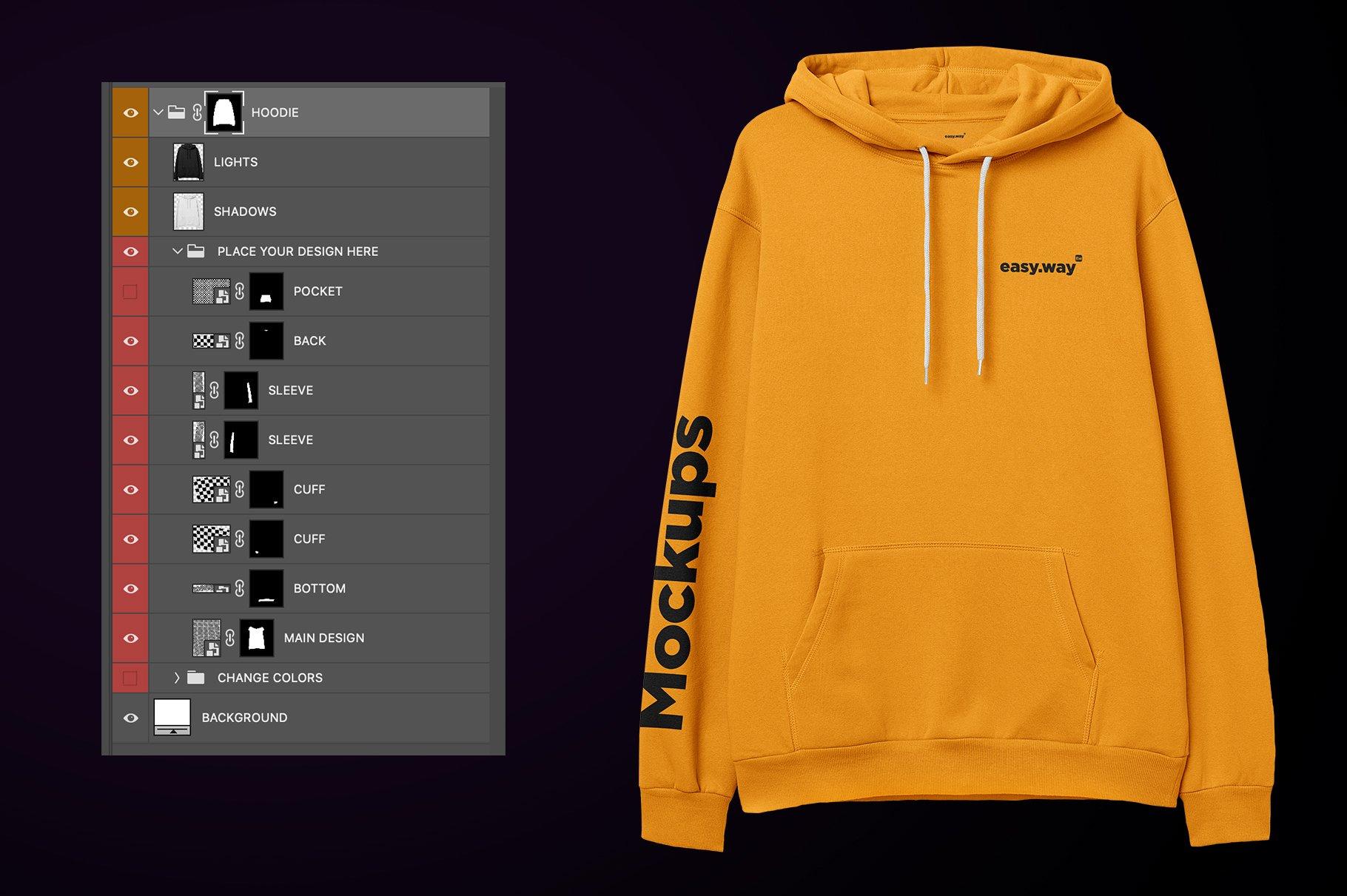 简约连衣帽卫衣印花图案设计展示样机PSD模板 Hooded Sweatshirt PSD Mockup插图5
