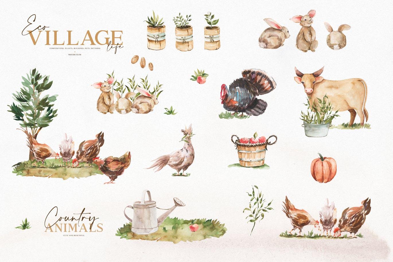 优雅感恩节主题农场动物植物手绘水彩画设计素材 Watercolor Eco Village插图6