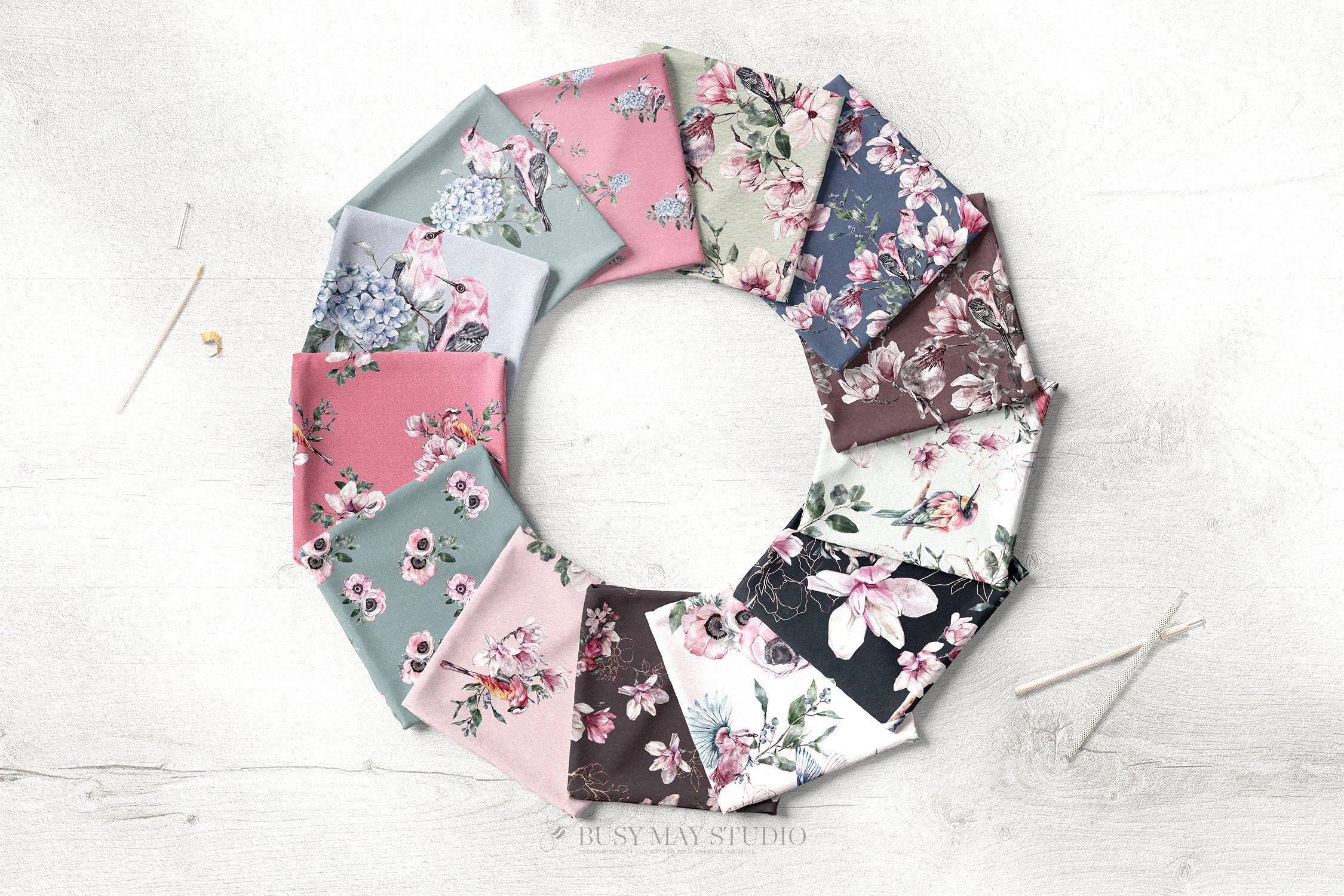 16款春天叶子花卉小鸟手绘水彩画图片设计素材 Spring Watercolor Seamless Patterns插图5