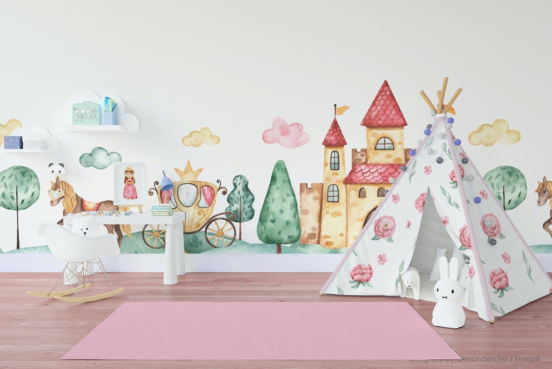 卡通女孩马车城堡彩虹手绘水彩画图片设计素材 Little Princess Watercolor插图6