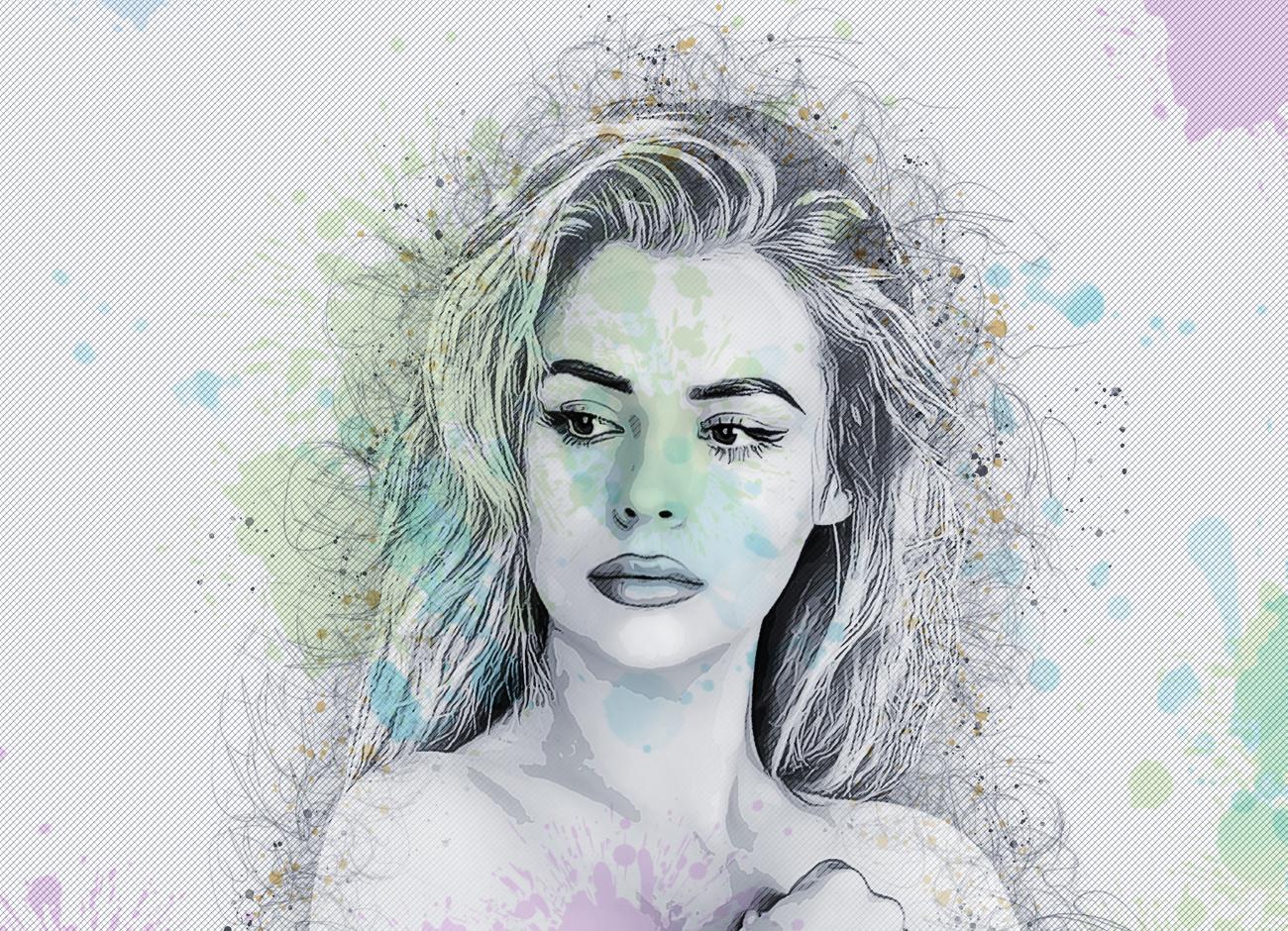 抽象铅笔素描效果照片处理特效PS动作模板 Abstract Sketch Photoshop Action插图7