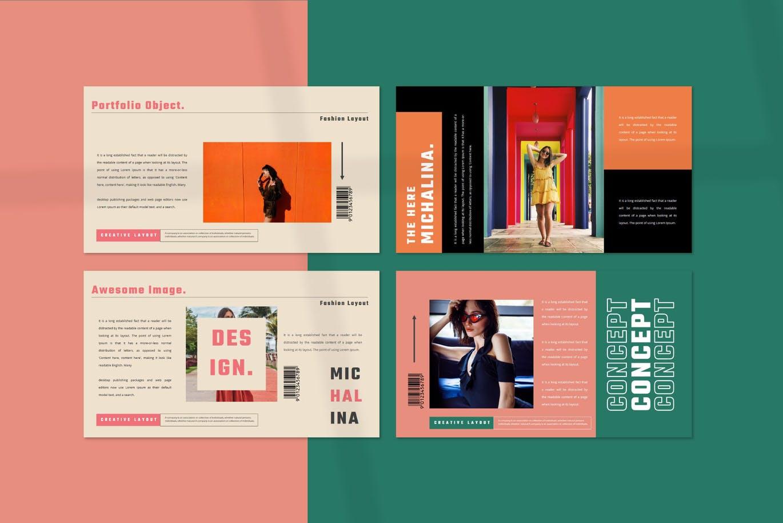 潮流撞色服装作品集演示文稿设计模板素材 MICHALINA Powerpoint Template插图6