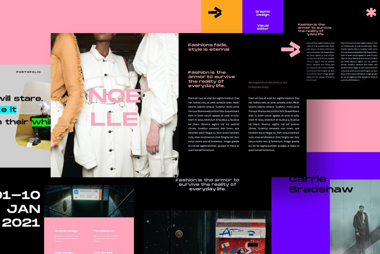 潮流炫彩服装作品集演示文稿设计模板 Noelle Powerpoint Template插图6