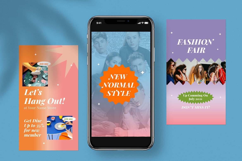 虹彩渐变背景品牌推广新媒体电商海报设计PSD模板合集 Cotton Rainbow Instagram Set插图6