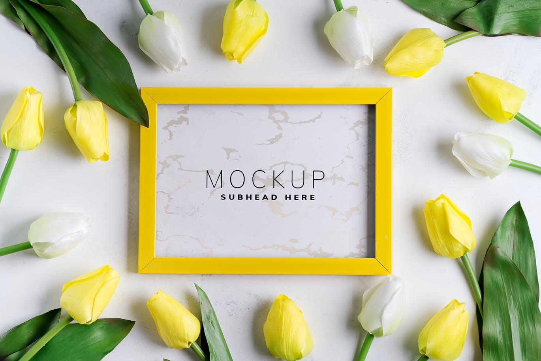 11个优雅婚礼印刷品场景样机PSD模板素材 Tulips Scene Mockup On Stone插图6