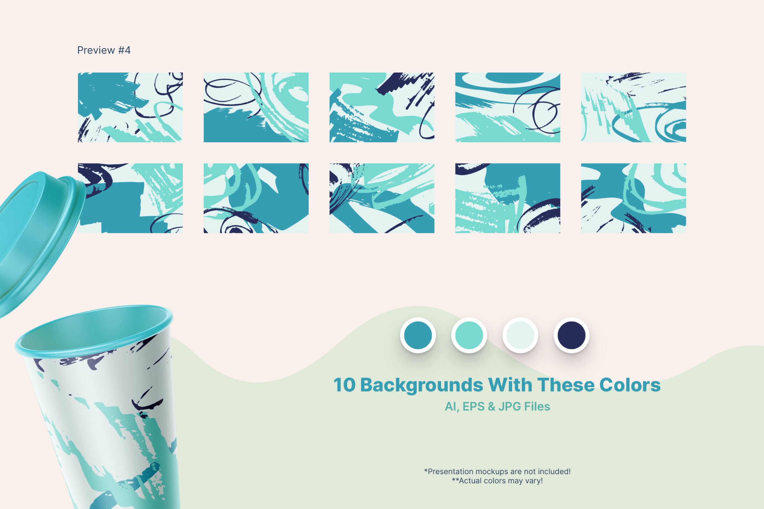 粗糙水墨毛笔笔触纹理海报设计背景图片矢量设计素材 Distressed Vector Backgrounds插图6