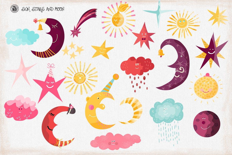 卡通太阳月亮星星印花图案设计矢量素材 Sun Stars and Moon插图6