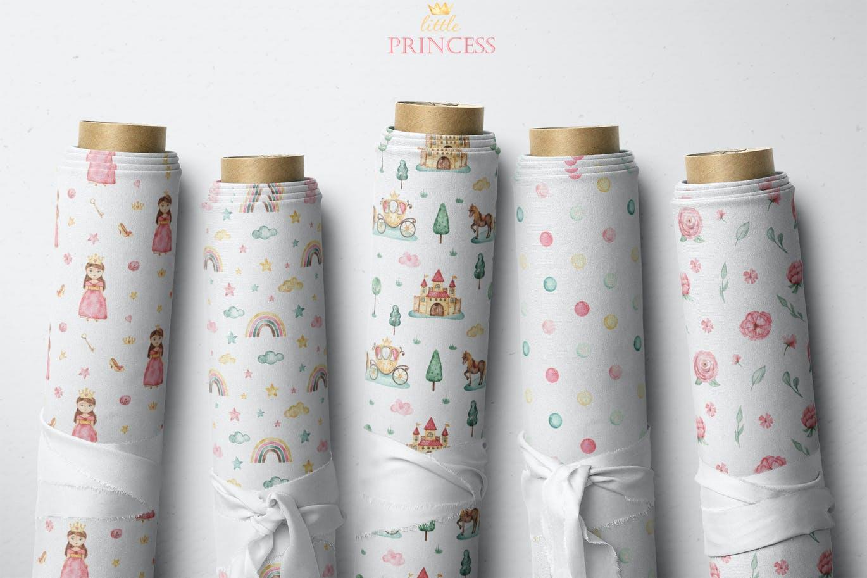 卡通女孩马车城堡彩虹手绘水彩画图片设计素材 Little Princess Watercolor插图7