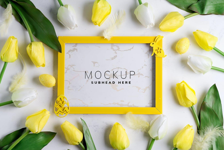 11个优雅婚礼印刷品场景样机PSD模板素材 Tulips Scene Mockup On Stone插图5