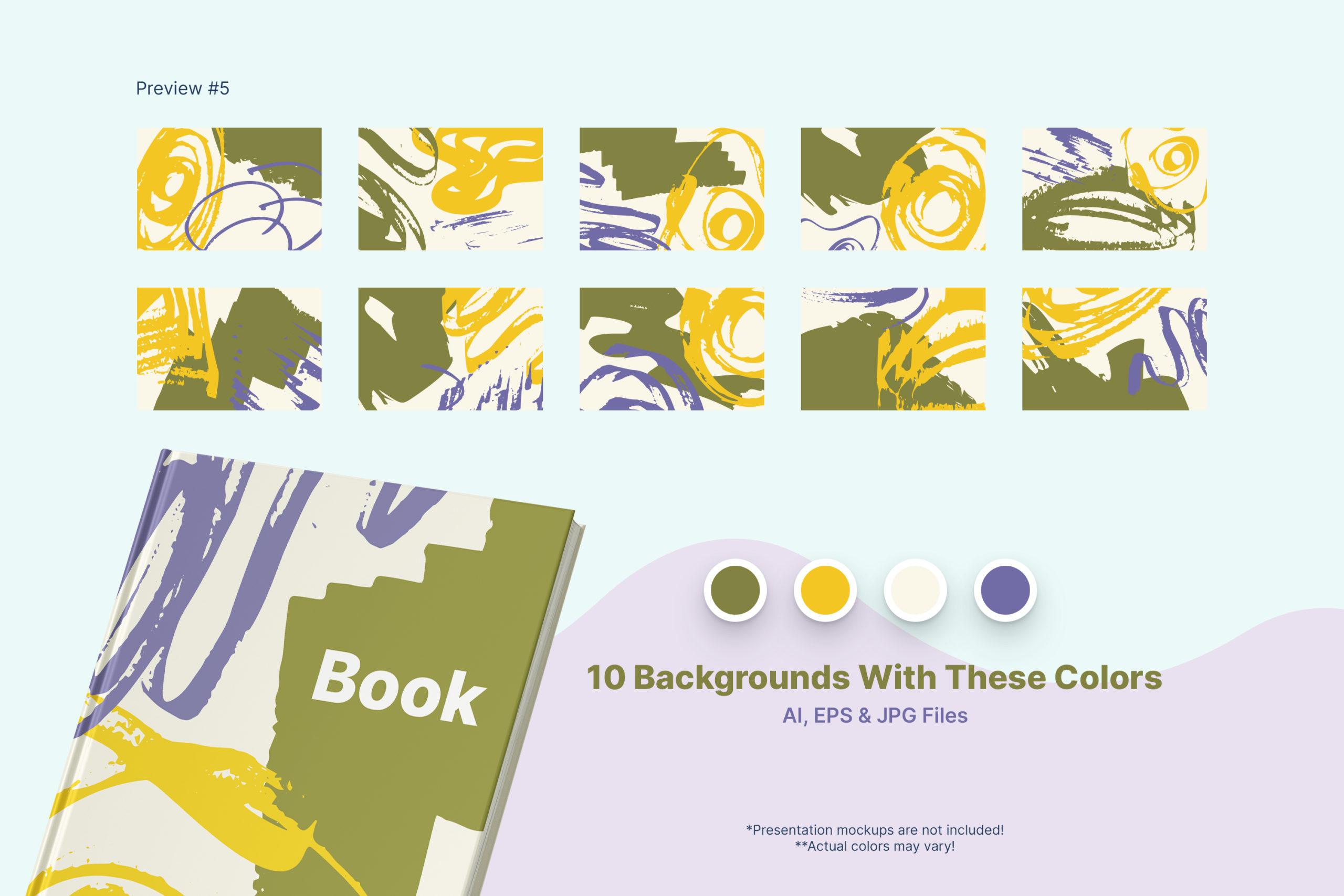 粗糙水墨毛笔笔触纹理海报设计背景图片矢量设计素材 Distressed Vector Backgrounds插图7