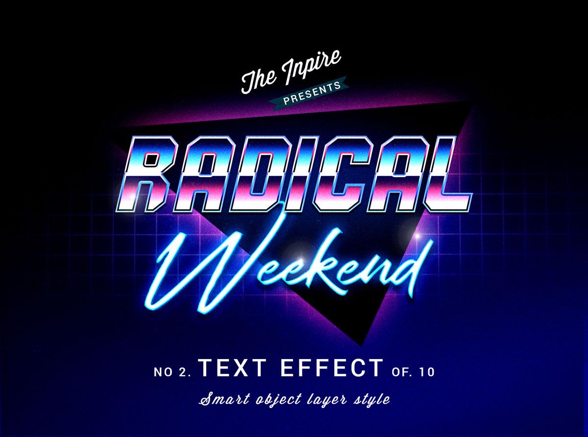 10款复古80年代蒸汽波海报标题Logo设计PS文本样式模板 80s Text Effects Bundle插图5