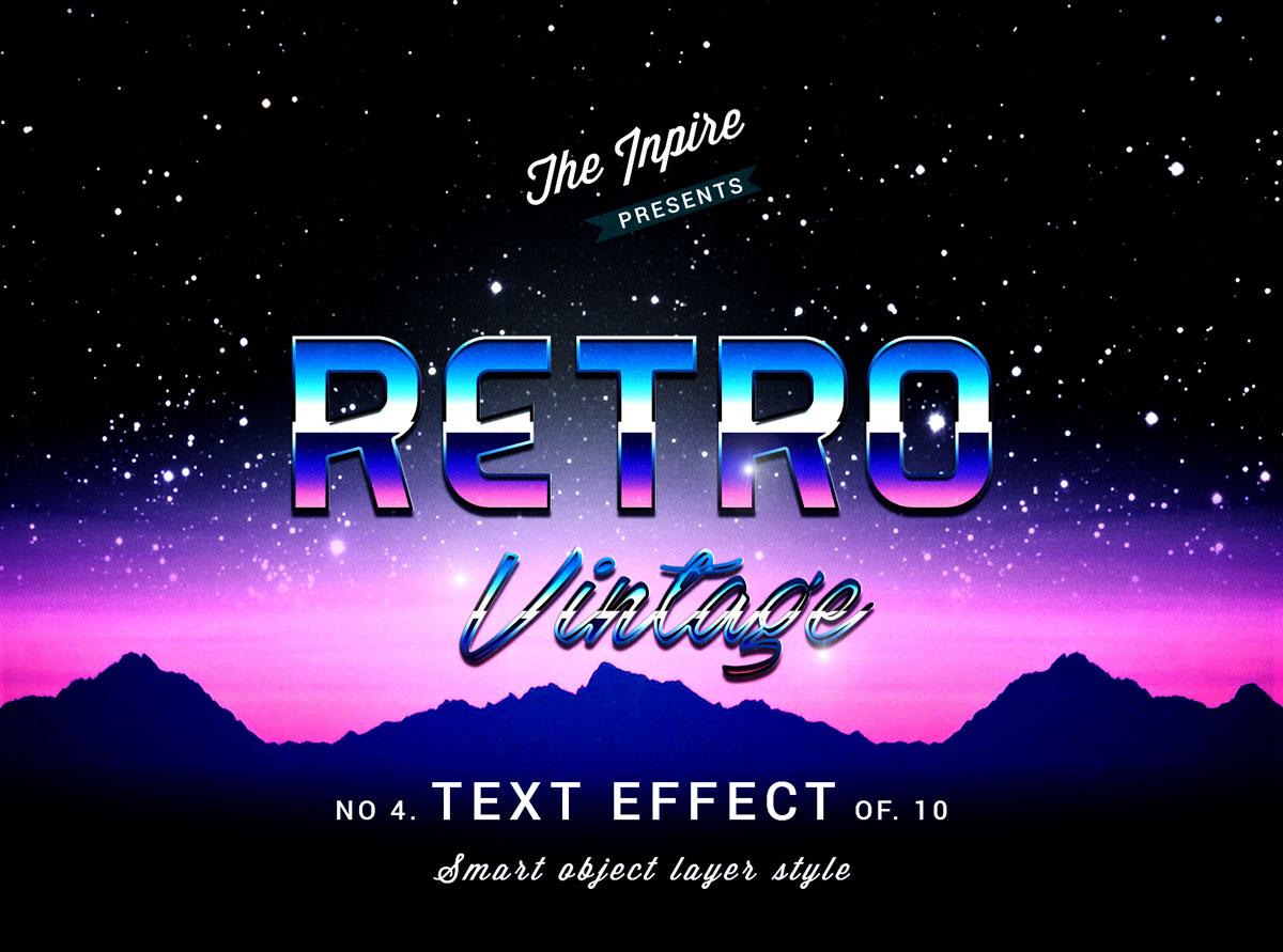 10款复古80年代蒸汽波海报标题Logo设计PS文本样式模板 80s Text Effects Bundle插图7