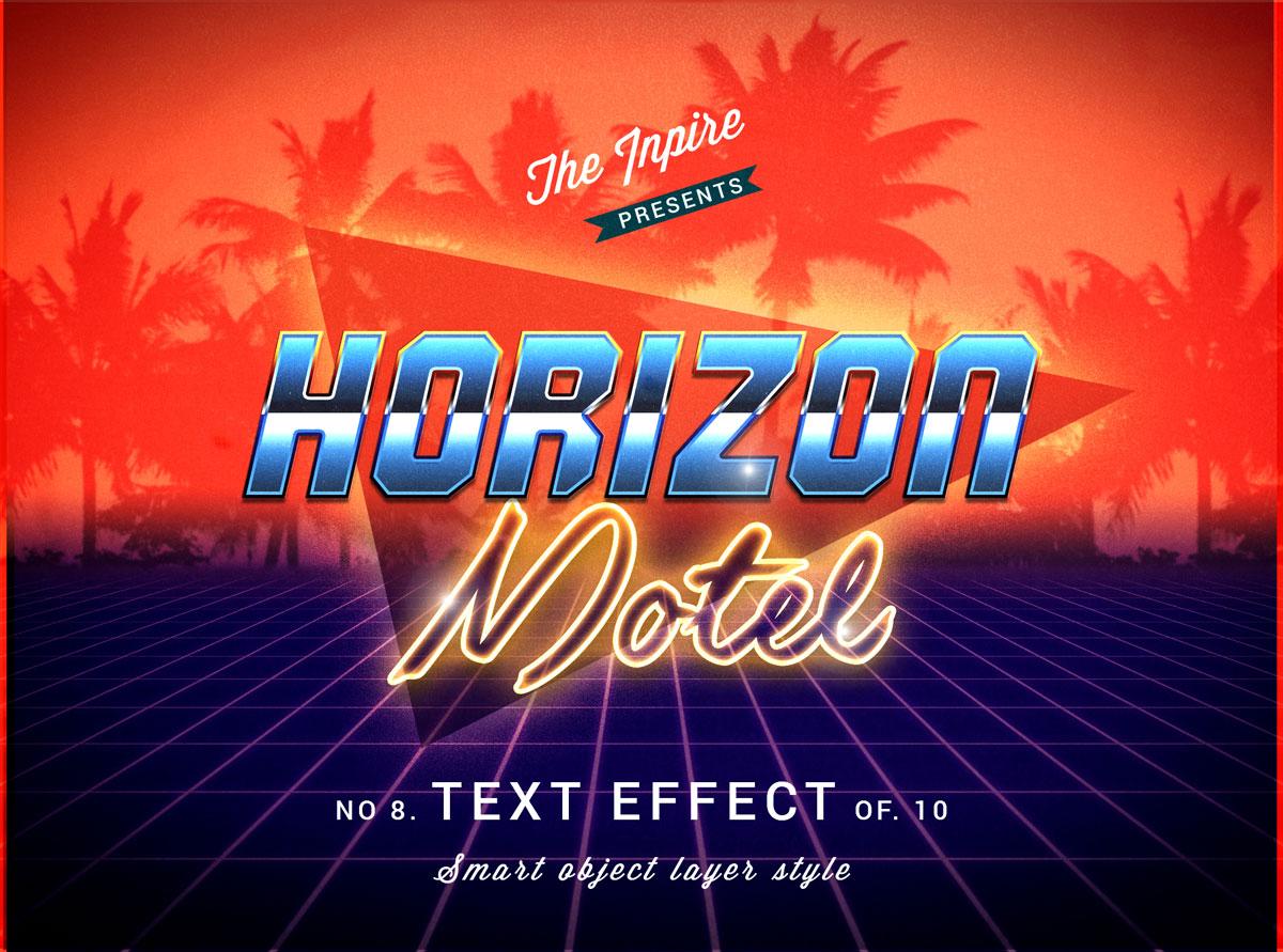 10款复古80年代蒸汽波海报标题Logo设计PS文本样式模板 80s Text Effects Bundle插图1