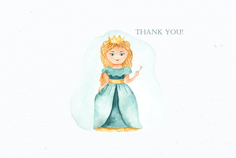 卡通女孩马车城堡彩虹手绘水彩画图片设计素材 Little Princess Watercolor插图9