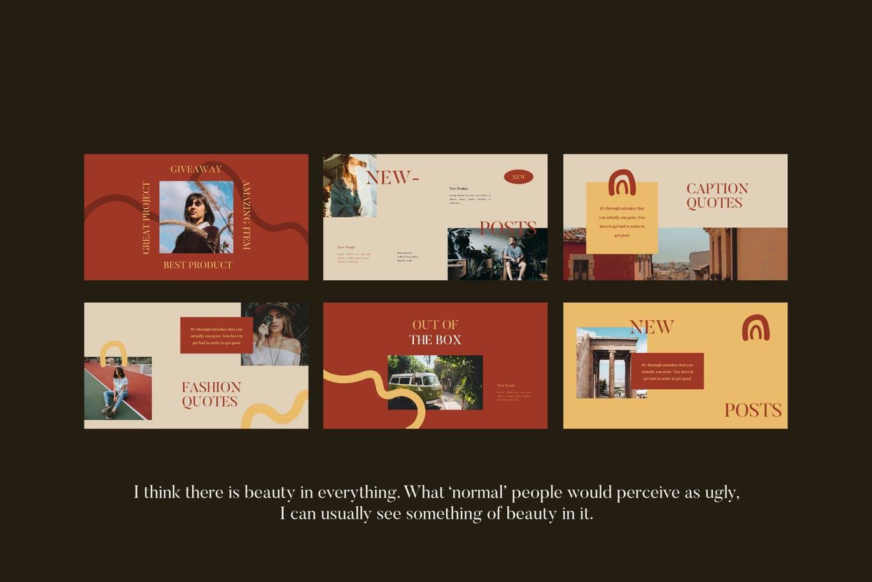 优雅暖色调女士服装摄影作品集设计演示文稿模板素材 FLORENCE Keynote Template插图8