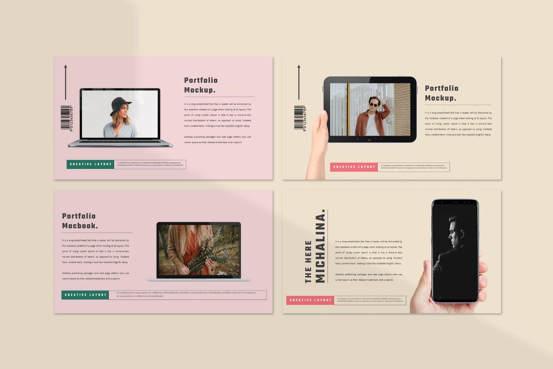 潮流撞色服装作品集演示文稿设计模板素材 MICHALINA Powerpoint Template插图8