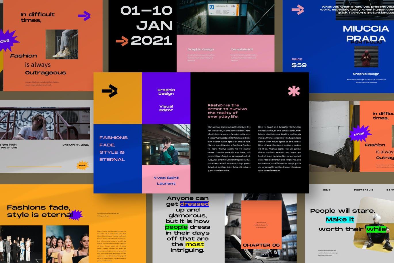 潮流炫彩服装作品集演示文稿设计模板 Noelle Powerpoint Template插图8