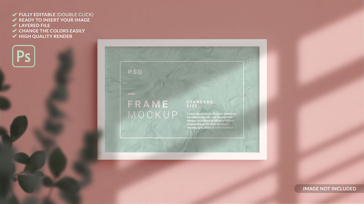 11款方形海报艺术品相片展示相框样机模板 Square Photo Frame Mockup插图9