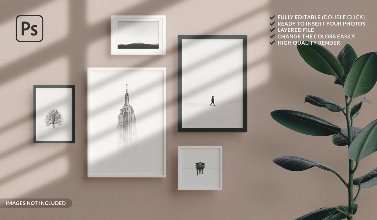 11款方形海报艺术品相片展示相框样机模板 Square Photo Frame Mockup插图10