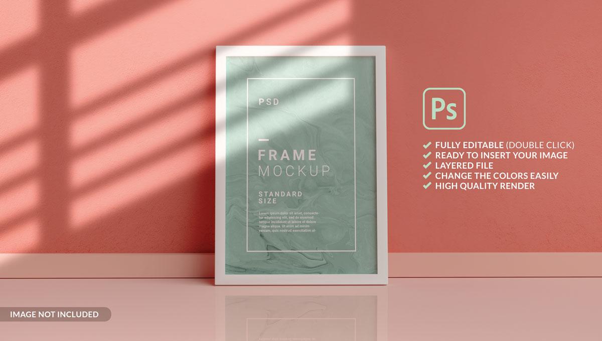 11款方形海报艺术品相片展示相框样机模板 Square Photo Frame Mockup插图1
