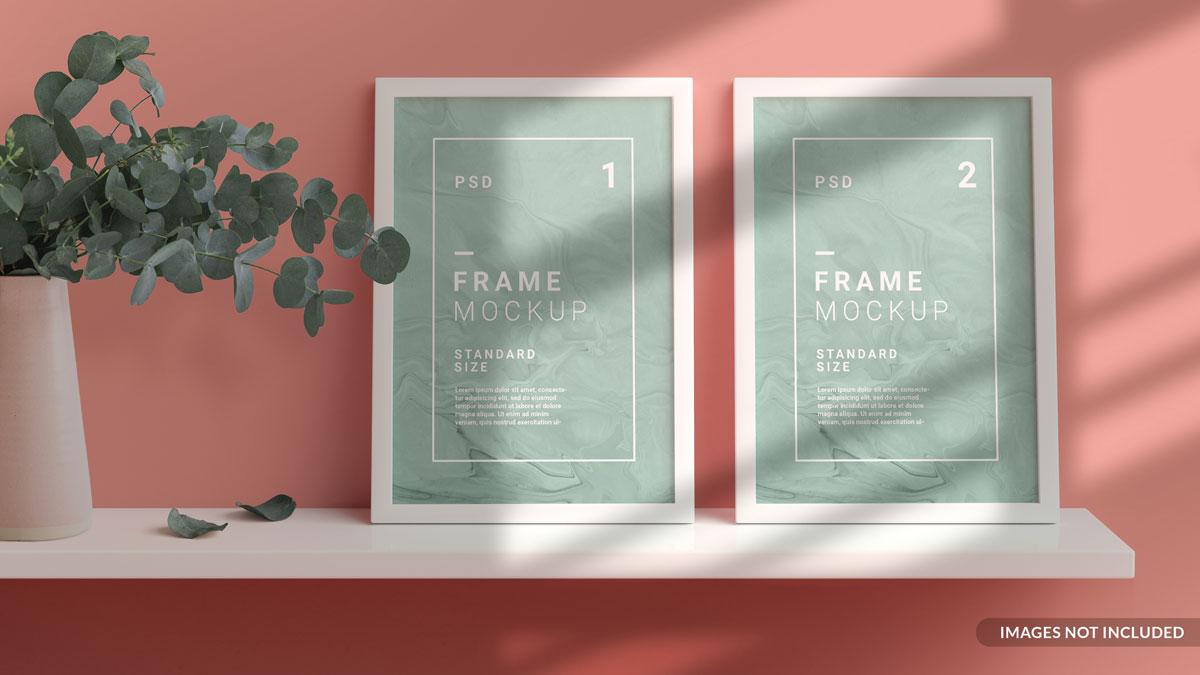 11款方形海报艺术品相片展示相框样机模板 Square Photo Frame Mockup插图2