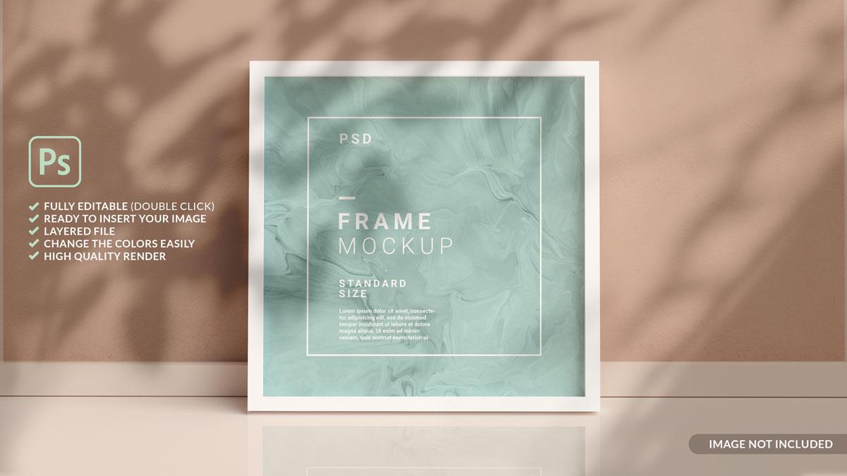 11款方形海报艺术品相片展示相框样机模板 Square Photo Frame Mockup插图7