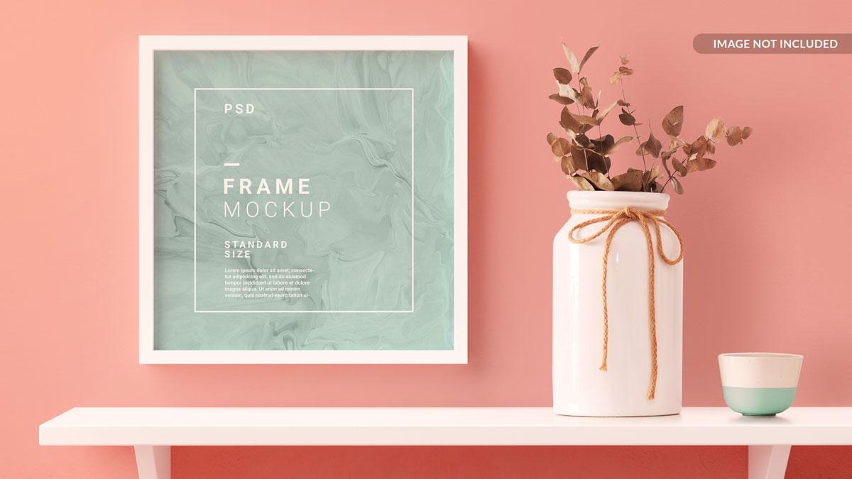 11款方形海报艺术品相片展示相框样机模板 Square Photo Frame Mockup插图8