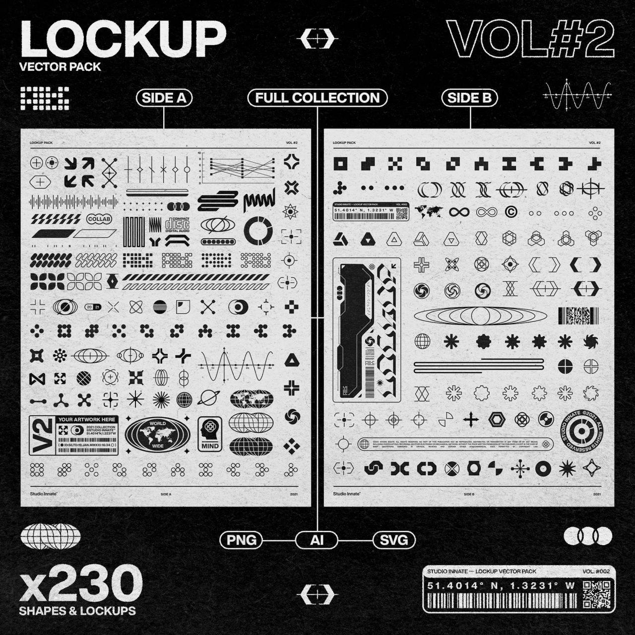 [单独购买] 230款时尚潮流现代艺术几何赛博朋克Logo图形AI矢量设计素材 Studio Innate – Lockup Vector Pack Vol.2插图