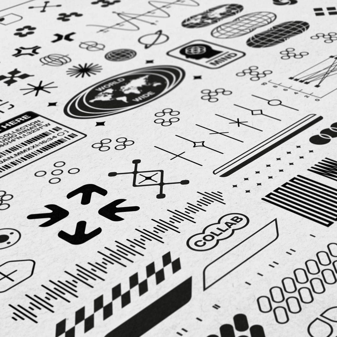 [单独购买] 230款时尚潮流现代艺术几何赛博朋克Logo图形AI矢量设计素材 Studio Innate – Lockup Vector Pack Vol.2插图1
