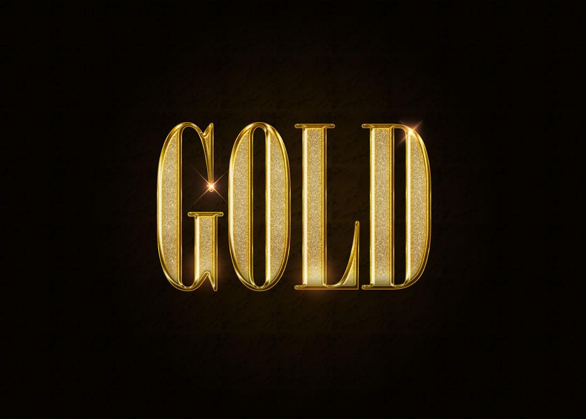 10款金色3D立体标题徽标Logo设计PS样式模板 Golden Decorative Text Styles插图
