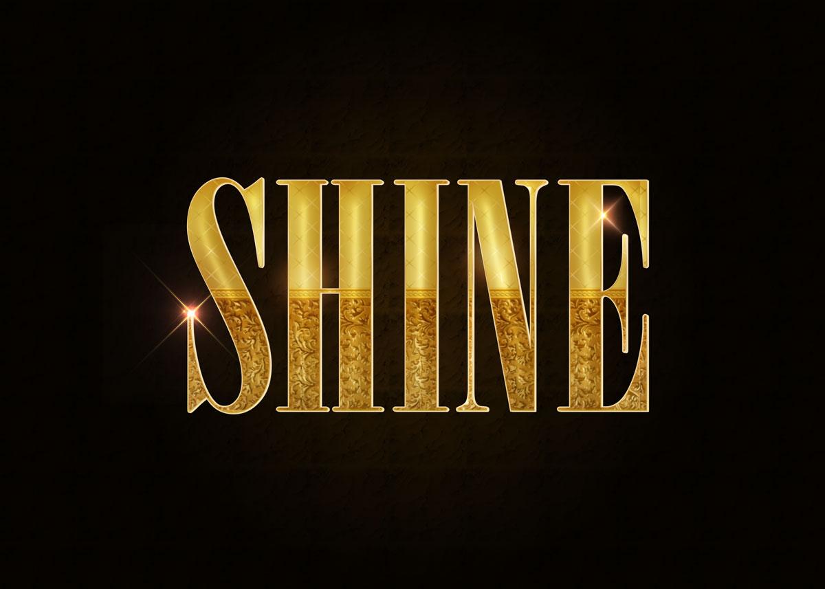 10款金色3D立体标题徽标Logo设计PS样式模板 Golden Decorative Text Styles插图1