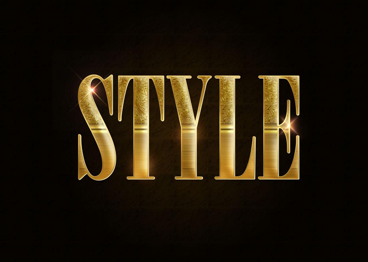 10款金色3D立体标题徽标Logo设计PS样式模板 Golden Decorative Text Styles插图8