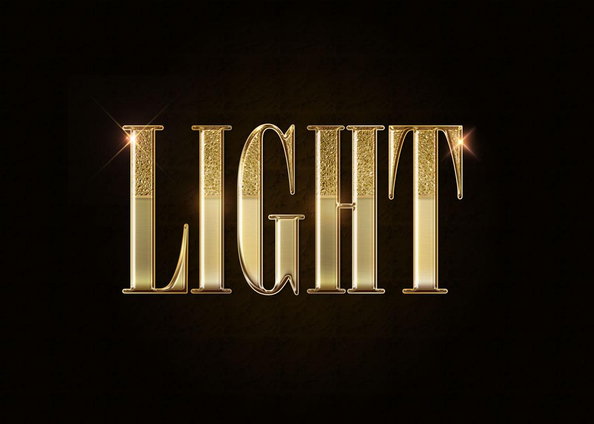 10款金色3D立体标题徽标Logo设计PS样式模板 Golden Decorative Text Styles插图9