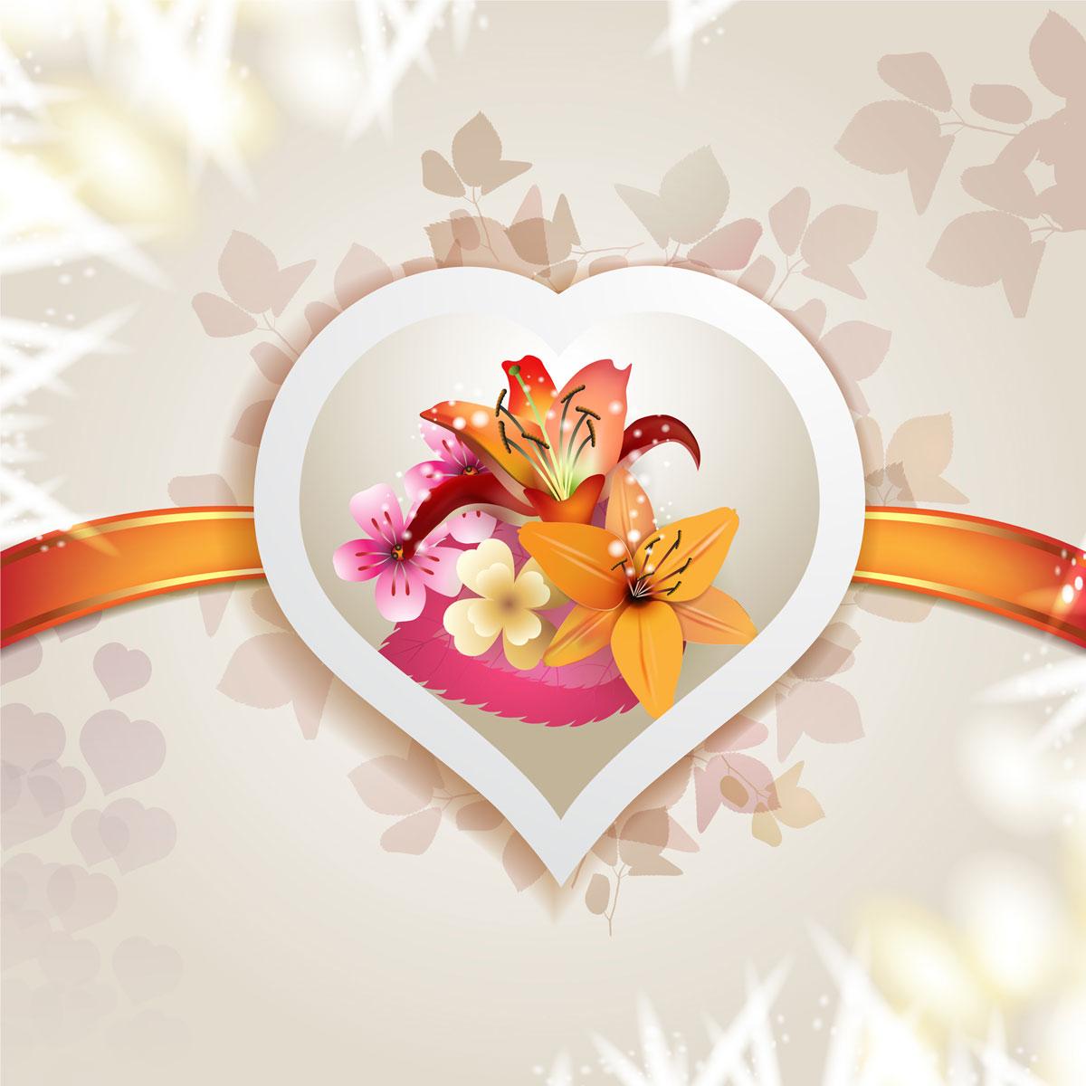 13款情人节七夕节爱心心形宣传海报设计AI矢量素材 Valentines Day Heart-shaped Vector Poster插图4