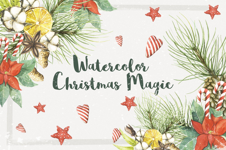 圣诞节主题手绘水彩画PNG图片设计素材 Watercolor Christmas Magic插图