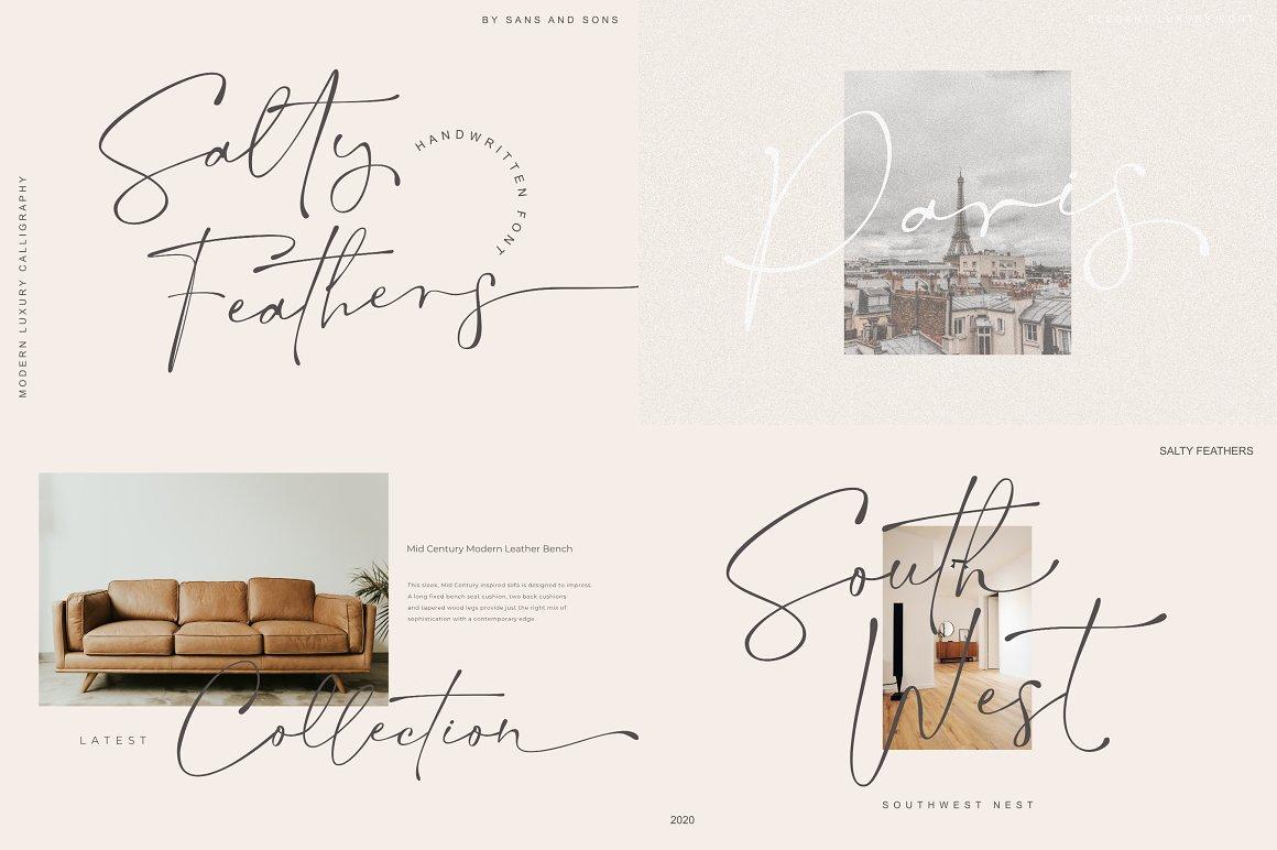 [单独购买] 12套时尚优雅奢华杂志海报标题品牌徽标Logo设计英文字体素材套装 Modern Elegant Font Bundle插图3