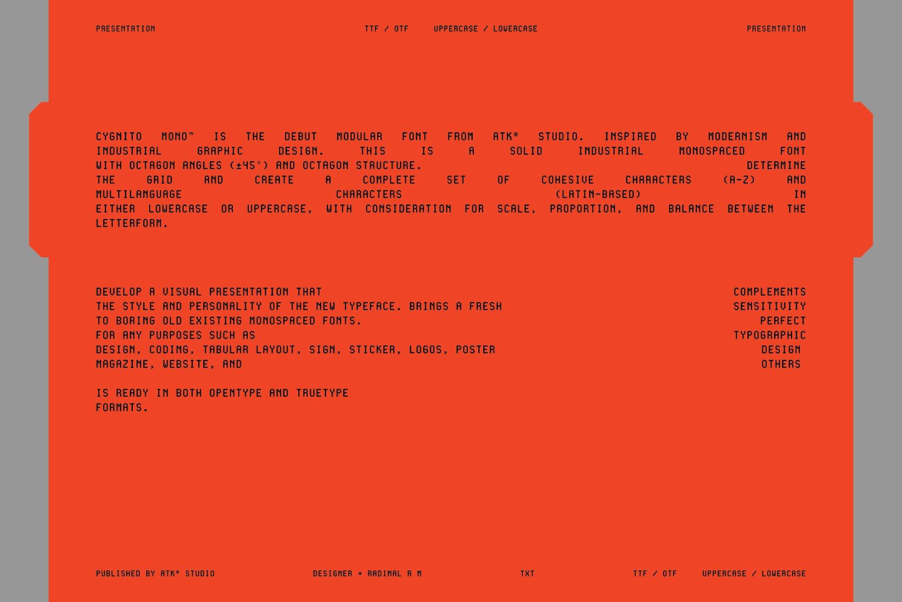 现代简约经典海报杂志等宽无衬线英文字体素材 Cygnito Mono插图2
