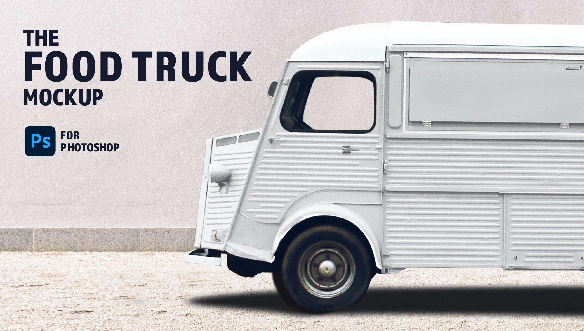 食品快餐车车身广告设计展示样机素材 Food Truck Branding Mockup插图