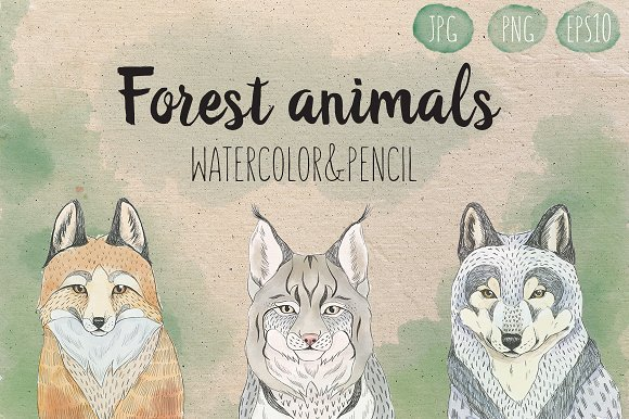 500多款可爱卡通动物花卉手绘水彩画设计素材 500+ENTIRE SHOP BUNDLE Watercolors插图21