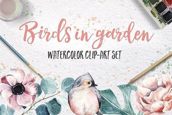 500多款可爱卡通动物花卉手绘水彩画设计素材 500+ENTIRE SHOP BUNDLE Watercolors插图25